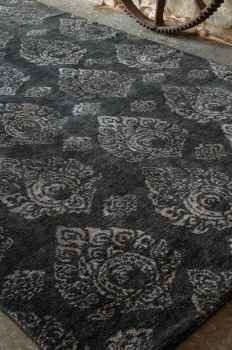 Himilaya 6' Hand Knotted Wool Rug in Charcoal with Grey Accents. Brand Uttermost