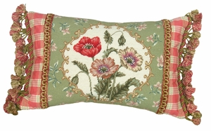 Hip Poppy Green Border Petit-Point Pillow by 123 Creations