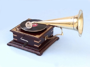 HMV Working Gramophone With  Brass Horn Best Deal Brand Wild Orchid