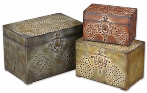 Hobnail Weathered Box Set With Mossy Greens and Browns Details Brand Uttermost