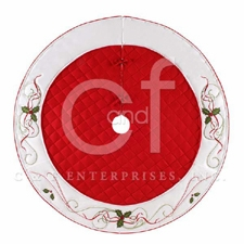 Holiday Hollies Themed Wrap Around Christmas Tree Skirt Brand C&F