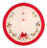 Holiday Wrap Around Christams Tree Skirt With Garden Song Birds Brand C&F