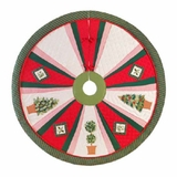 Holiday Wrap Around Christmas Tree Skirt With Festive Topiaries Brand C&F