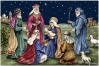 "Holy and Beautiful Nativity Needlepoint Rug 36x24"" by 123 Creations"