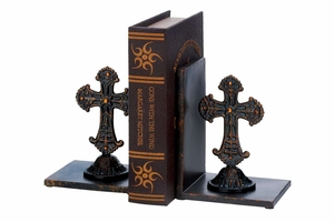 Holy Cross Metal Bookend Pair 8 Inch Height, 6 Inch Width Brand Woodland