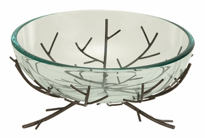 Home Decor � Glass Bowl on Metal Stand of Branching Design Brand Woodland
