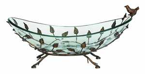 Home Decor � Oval Glass Bowl on Multi Leaf Metal Base Design Brand Woodland