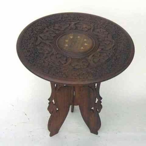 Round Carved Wooden Coffee Table Furniture Brand IOTC