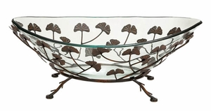Home Decor � Round Glass Bowl on Metal Stand w/ Multi Leaf Design Brand Woodland