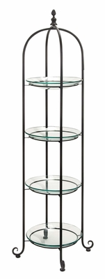 Home Decor � Round Glass on Metal Frame Shelve � 4 Tier Design Brand Woodland