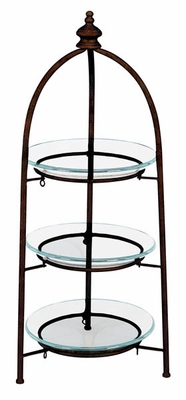 Home Decor � Round Glass Shelve on Metal Frame � 3 Tier Design Brand Woodland
