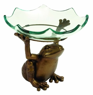 Home Decor � Scallop Glass Bowl on top of Standing Frog Design Brand Woodland