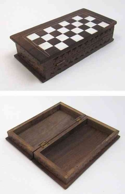 Wooden Carved Chess Box with Inlay Checkmate Brand IOTC