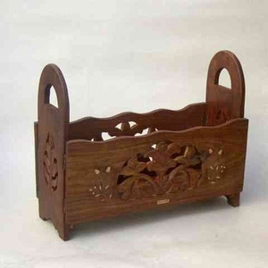 Wooden Magazine Rack Carved Furniture with Inlays Brand IOTC