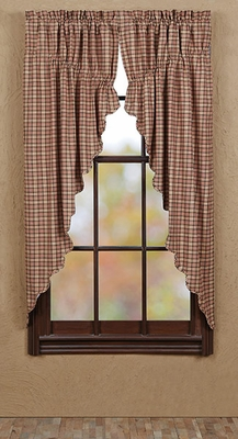 """Homestead Prairie Curtain Scalloped Lined Set of 2 63x36x18"""" Brand VHC"""