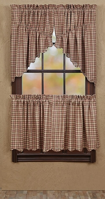 "Homestead Prairie Swag Scalloped Lined Set of 2 36x36x18"" Brand VHC"