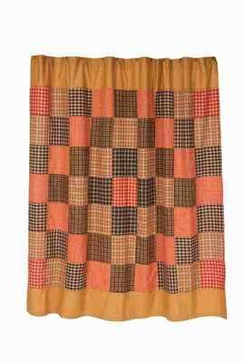 Homestead Shower Curtain with Large Checked Design and Button Hole Brand VHC