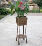 Honey Wicker Patio Furniture Planter Stand with Steel Frame Brand Zest
