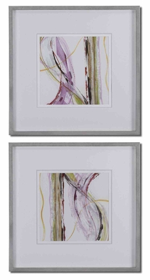Honeysuckle Rose Silver Leaf Modern Art - Set of 2 Brand Uttermost