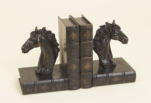 Horse Decorative Leather Faux  Box Book Ends in Brown - Set of 2 Brand Woodland