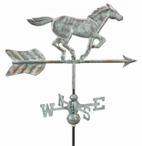 Horse Garden Weathervane - Blue Verde Copper w/Roof Mount by Good Directions