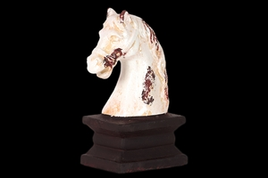 Horse Head Ceramic White on Brown Stand