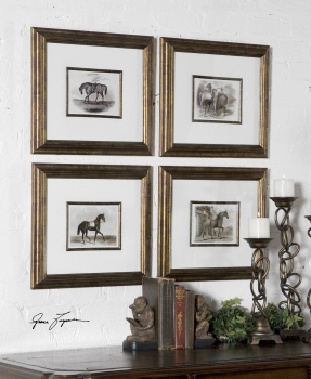 Horses And Horse Stable Artwork In Polished Wood Frame Brand Uttermost