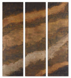 Hot As Fire Abstract Art in Earth Colors Set of 3 Brand Uttermost