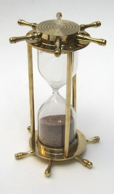 Hour Glass with Ship Wheel Design and 5 Minutes Timer by IOTC