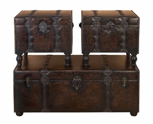 Huge Custom House Leather N Wood Chest Trunks - Set of 3 Brand Woodland
