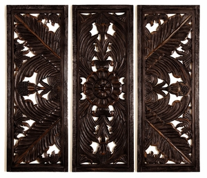 Huge Fine Hand Carving Wood Wall Decor Sculpture - Set of 3 Brand Woodland