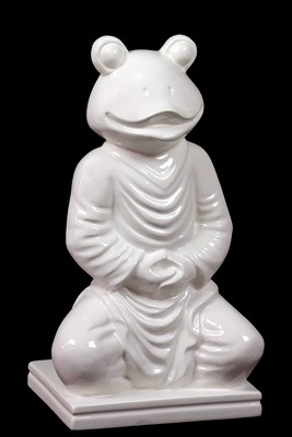 Human Body Sitting Ceramic Glossy White Frog