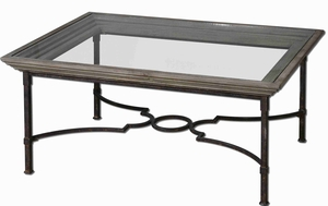 Huxley Wooden Coffee Table with Antique Crackled Fir Wood Brand Uttermost