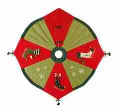 Ice Skates Christmas Tree Skirt, 54 Inch  Round Brand C&F