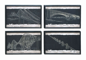 Iconic World Bridge Art In Graphic Blueprint Style Brand Woodland