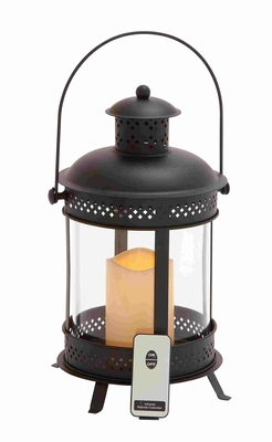 Illuminating LED Metal Candle Lantern with Glass and Remote Control Brand Benzara