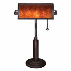 Franklin Mica Bankers Lamp with Dark Mystic Patterns by 4D Concepts