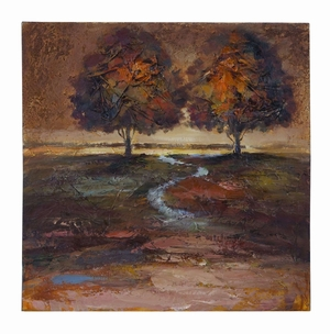 Impressionist Nature Canvas Painting of a Meandering Stream  by Benzara