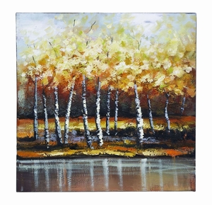 Impressionist Nature Canvas Painting With Bright Gold Trees Brand Woodland