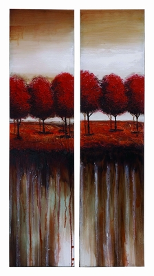 Impressionist Nature Canvas Painting With Red Autumn Trees Brand Woodland