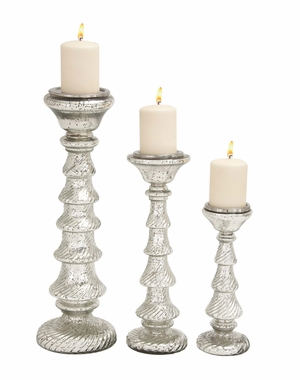 Impressive Styled Glass Candle Holder by Woodland Import