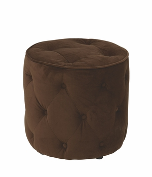 Impressive Tufted Round Shaped Velvet Ottoman by Office Star