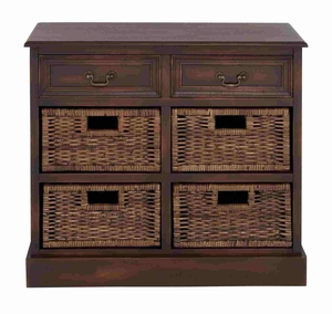 Impressive Wooden Dresser with Trendy Jute Baskets Brand Benzara