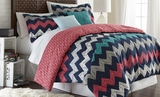 Improv Full Queen Size Reversible Printed Comforter Set of Five Pieces