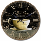 Incredible Circular Wooden Wall Clock with Coffee Cup Print by Yosemite Home Decor