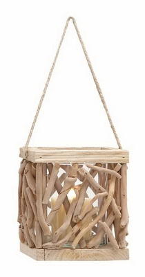 Indoor/Outdoor Wooden Lantern with Intricate Aesthetic Design Brand Woodland
