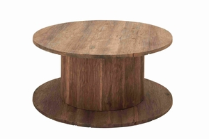 Industrial Round Coffee Table in Electrical Cable Reel Shape Brand Woodland