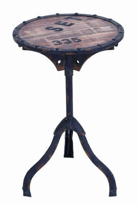 Industrial Style Accent Table With Rustic Wood And Iron Brand Woodland