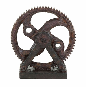 Industrial Style Polystone Cast Rusted Gear Decor Brand Woodland