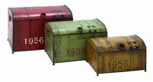 Industrial Style Steamer Trunk Set In Aged Steel Alloy Brand Woodland